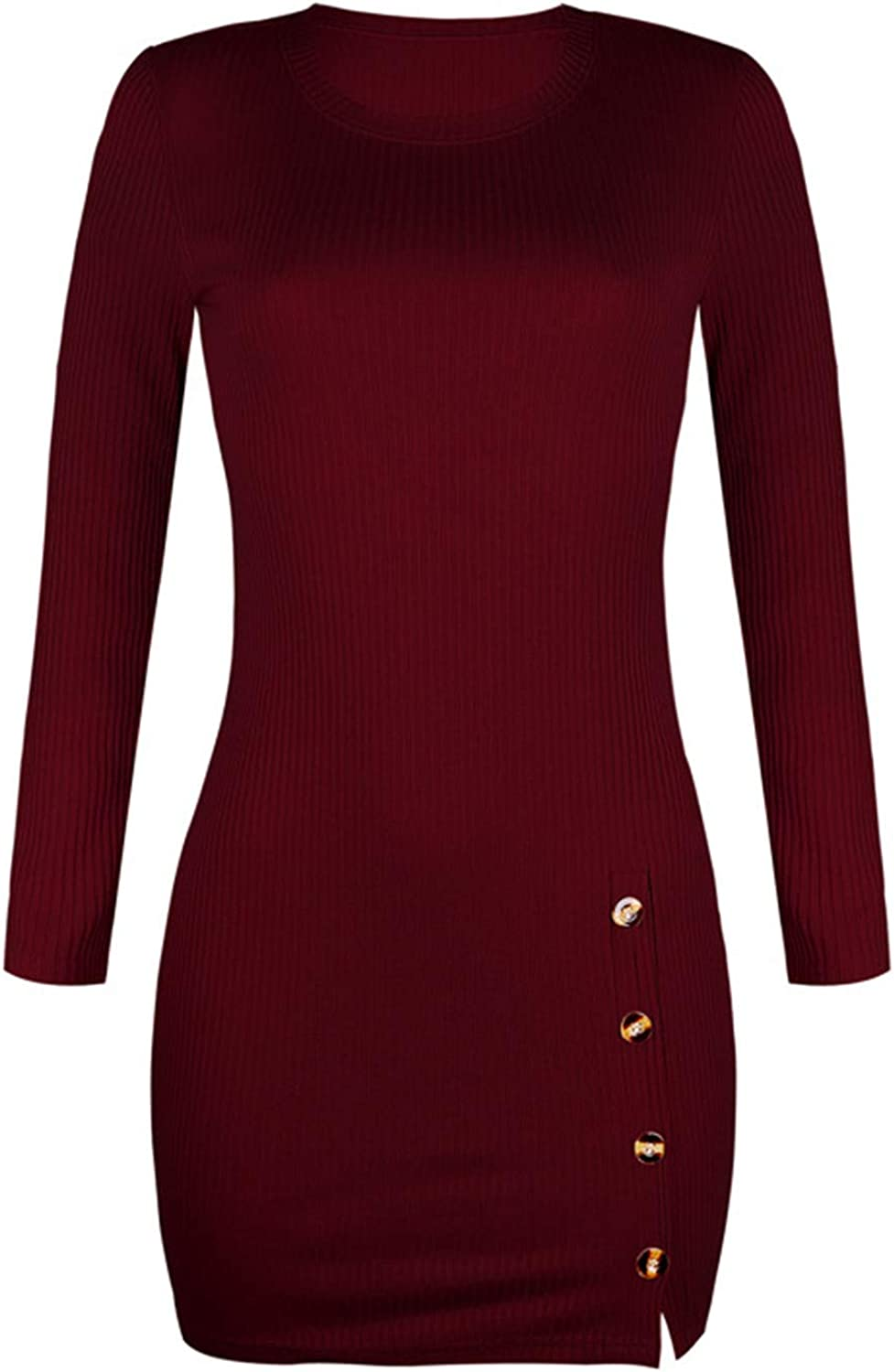 Women's Button Down Sweater Dress Ribbed Knit Bodycon Long Sleeve Mini Pencil Dress Sexy Knitted Club Mini Dresses