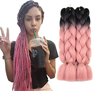 5 Pieces 2 Tone Ombre Braiding Hair Crochet Braids Synthetic Hair Extensions 24 Inch Black/Orange Pink#, 5pcs/Lot
