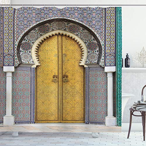 ambesonne Arabian Decor Collection, Old Windows en estilo árabe en Córdoba España balcones Cityscape de fondo, tela de poliéster Baño Cortina De Ducha Con Ganchos, color marfil azul