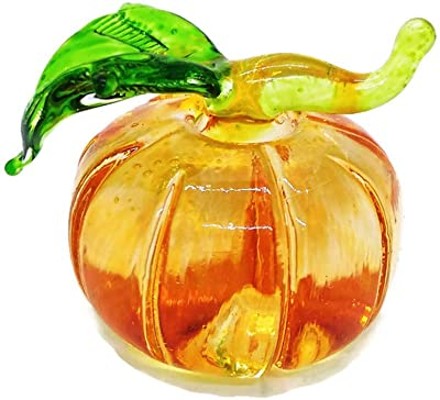 """WitnyStore Glass Pumpkin Figurine - Collectible Fruit Art - Clear and Colored Hand Blown and Painted Glass Miniature Table Decor Collector's Item Perfect for Gifts and Souvenirs 1"""" W x 1.5"""" H x 1"""" L"""