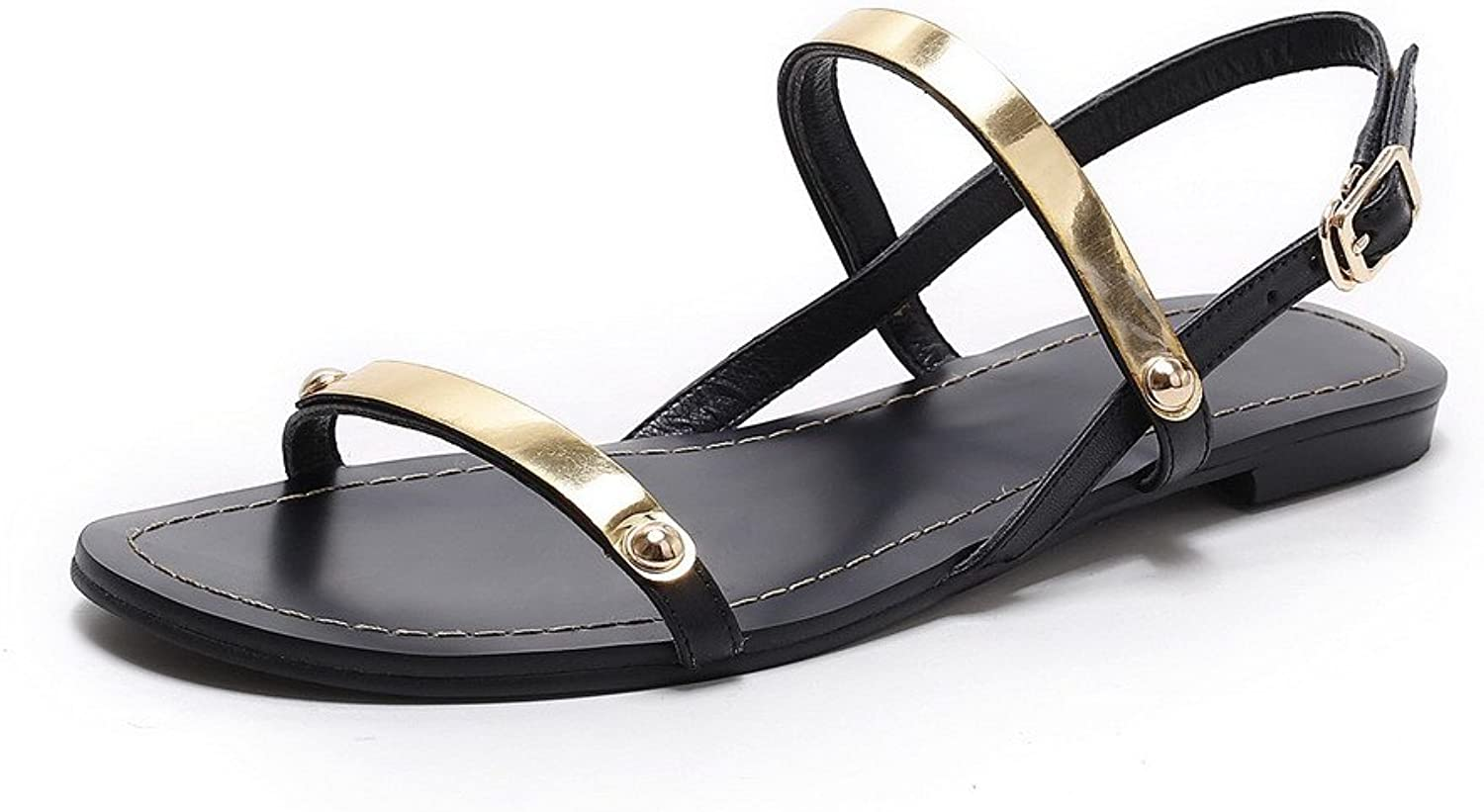 AmoonyFashion Women's Open-Toe Buckle Cow Leather Solid Low-Heels Sandals