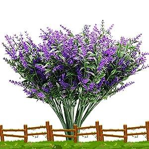 TYLCC 10 Bundles Artificial Lavender Flowers Outdoor UV Resistant Fake Flowers No Fade Faux Plastic Plants Garden Porch Window Box Decor