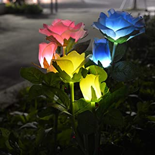 Viewpick Solar Garden Lights Outdoor Decorative Solar Stake Lights 6 Multicolor Rose Flowers Yard Patio Decor Lights for Christmas Decor Mother's Day Valentine's Day(3 Pack,Blue,Pink,Yellow)