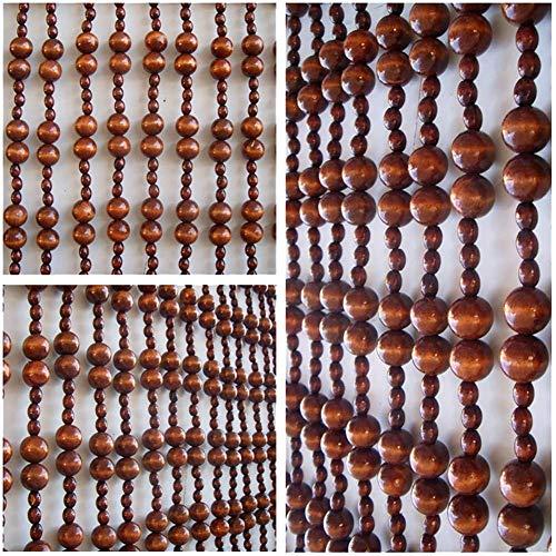 ZXL parelgordijn, ruimteverdeler, rolgordijn voor deur, slaapkamer, ballen om op te hangen, van hout, snaren, decoratie, pastoronen (kleur: bruin, maat: 25 strengen, 0,9 x 1,55 m)