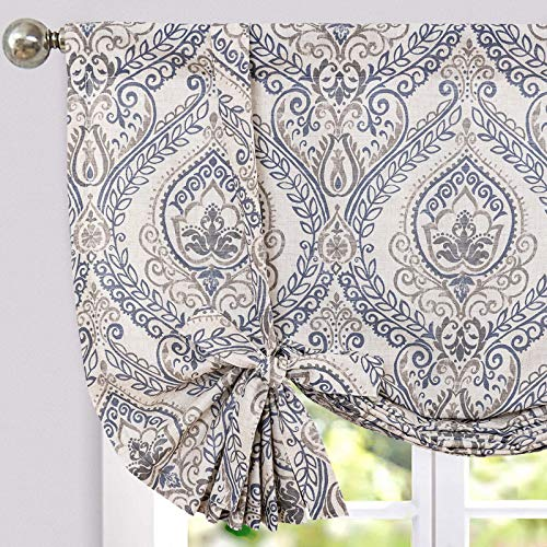 jinchan Tie Up Shade Curtains Damask Printed Paisley Rod Pocket Drapes for Kitchen Living Room 54 inches Long Multicolor Medallion Flax Window Curtain 1 Panel Blue