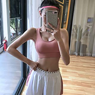 Fitness Girl Buckle High Support Running Bra Shockproof Gathering Sports Underwear Quick-Drying Stereotype Yoga Vest,Pink,L