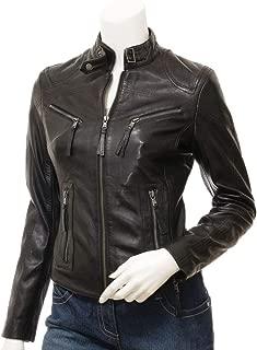 Women's Black Leather Biker Jacket Corinth