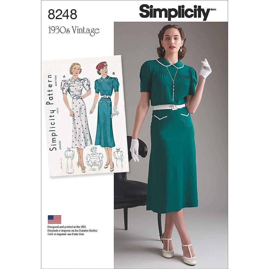 Simplicity Pattern 8248 P5 Misses' Vintage 1930's Dresses, Size 12-14-16-18-20