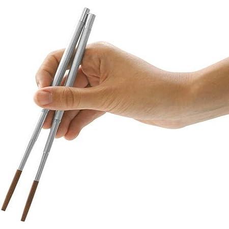 Kikkerland Collapsible Stainless Steel Chopsticks Travel Case Japanese Sushi Set