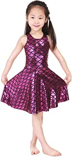 Lesubuy Shiny Cute Party Mermaid Tail Fish Scales Pleated Skater Skating Dress for Girls 5T-12T