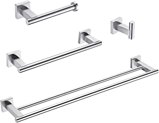 Hoooh 4-Piece Bathroom Accessories Set Brushed Stainless Steel Wall Mount - Includes Double Towel Bar, Hand Towel Rack, To...