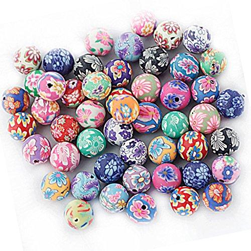 dailymall - 50 piezas de arcilla de polímero floral, perlas redondas, accesorios de artesanía, 10 mm x 1,5 mm