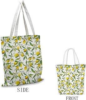 Canvas Tote, Lightweight Nature Flowering Lemon Woody Plant Romance Habitat Citrus Fresh Background, 16.5
