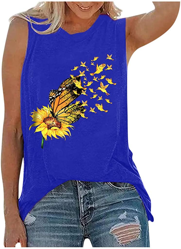 Summer Tops for Women,Womens Tank Tops Sleeveless Summer Shirts Round Neck Sunflower Cute Printed Tshirt Workout Blouse Casual Tunic Tee