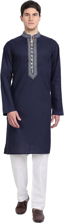 SKAVIJ Men's Tunic Cotton Kurta Pajama Set Casual Indian Suit Dress Set
