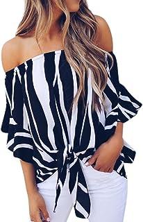 Women Blouse Striped T Shirts Off Shoulder Waist Tie Short Sleeve Casual Tops
