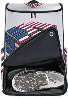 FANTAZIO American Flag Feathers Suitcase Protective Cover Luggage Cover