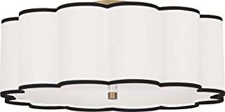 Robert Abbey 2201 Axis - Four Light Flush Mount, Aged Brass Finish with Scalloped Fondine Fabric/Black Shade