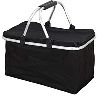 Folding Picnic Basket Shopping Basket Travel Portable 15KG Cloth Environmental Basket Home, Shopping, Travel, Picnic,Black,44.526.525cm