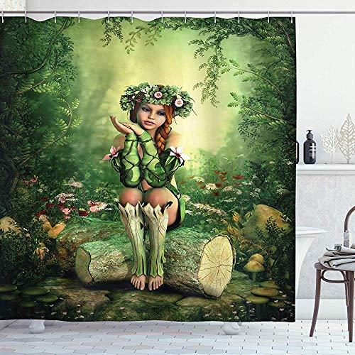 abby-shop Feen-Duschvorhang, Computerkunst-Elfenmädchen mit Kranz auf ihrem Kopf sitzend auf einem Baumstumpf, grünes Beige