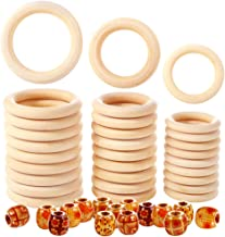 Caydo 60 Pieces 3 Sizes Unfinished Wood Rings and Wood Beads for Craft, Macrame Craft, Ring Pendant and Jewelry Making Connectors