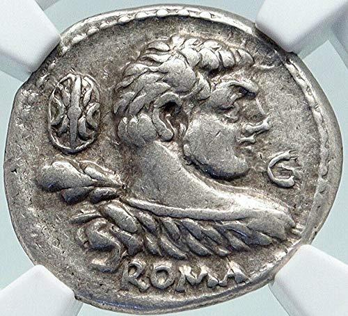 100 IT Roman Republic 100BC Rome Ancient AR Coin HERCULE Denarius Ch VF NGC