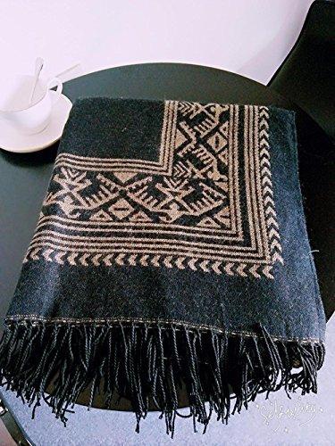 Frauen Mode Nepal Stil Oversized verdickt Decke Schal Wrap Poncho Schal Cape mit Quasten gemütliche Faux Cashmere 150 * 130cm