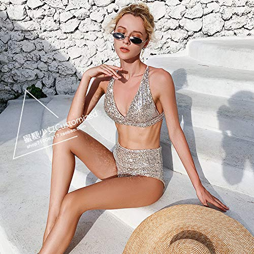 YIWANGO Bikini Set Sissy Sequin Bra 丨 with