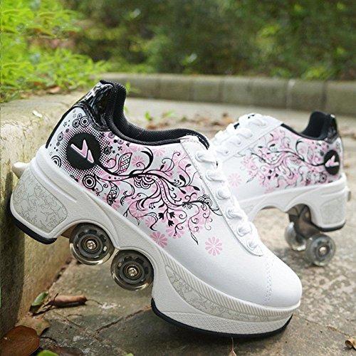 NNZZY Multifunktionale Deformation Schuhe Quad Skate Rollschuhe Skating Outdoor Sportschuhe für Erwachsene, White, 39