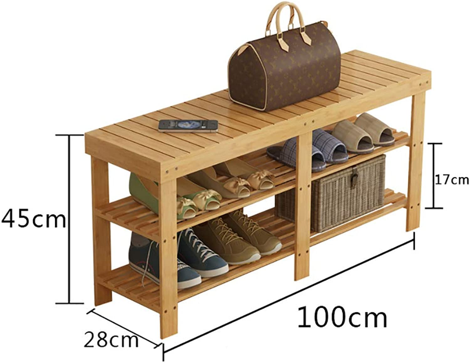 Entrance shoes Rack shoesbox Change shoes Bench Shelf Storage Shelf Multifunction 2 3 Layer Household Dorm Room Space Saving Doorway Bamboo (color   A1)