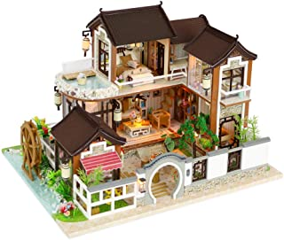 Kisoy Miniature DIY Dollhouse Kit with Furniture Accessories Creative  Lovers and Friends (Dream in Ancient Town) with Dus...