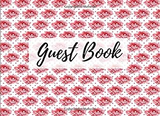 Guest Book: Peony Floral Flower Print (12) - Keepsake Writing Guest Book - For All Occasions & Events [Classic]