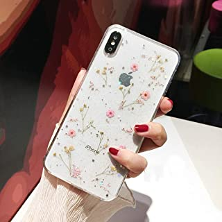 Shinymore iPhone 7/8 iPhone SE 2020 Flower Case, Soft Clear Flexible Rubber Pressed Dry Real Flowers Case Girls Glitter Floral Cover for iPhone 7 iPhone 8 iPhone SE 2nd Generation-Pink
