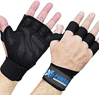 XPOWER High Quality Ventilated Weight Lifting Gloves with Wrist Wraps - Great for Pull-Ups, Gym Workout, Cross Training & ...