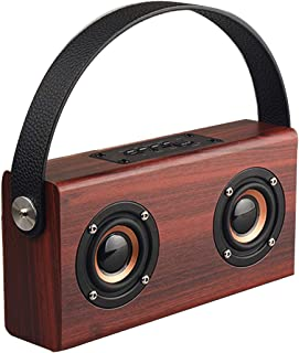 $81 » DFGADF Outdoor Wooden Bluetooth Speaker, Portable Home Speaker, BT-Speaker with Handle, Mobile Phone/Computer,Brown,19.5x1...