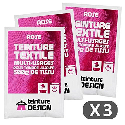 Set de 3Bolsas de Tinte Textil–Rosa–Teintures universales para Ropa y Telas Naturales