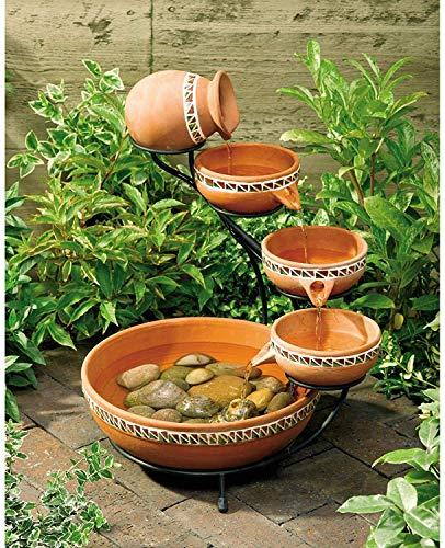 Solar 20.5' Outdoor 5-Tier Terra Cotta Ceramic Bowls Bird Bath Fountain with Solar Powered Low Voltage Water Pump