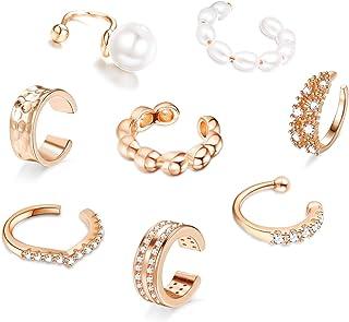 Florideco Juego de 8 pendientes de oreja sin perforar para mujer con perlas de circonita cúbica, para cartílago de hélix, ...