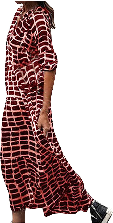 Meitianfacai Women Summer Fashion Casual Long Sleeve V-Neck Printing Loose Floor-Length Dress High Waist Swing Flowy Dress