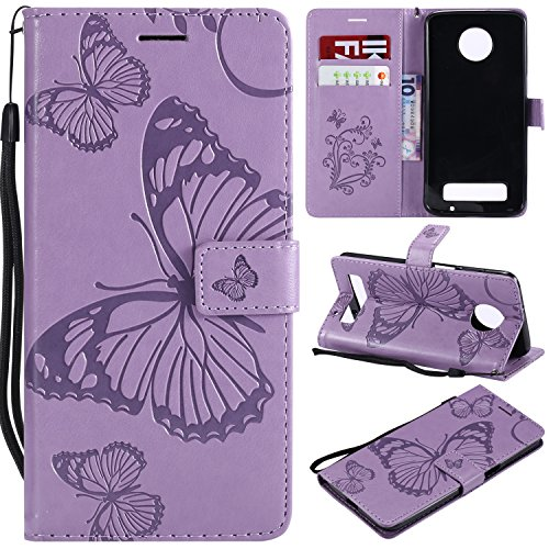 Moto Z3 Play Case,Moto Z3 Play Wallet Case,Motorola Z3 Play Case with Card Holders,Folio Flip Leather Butterfly Case Cover with Card Slots Kickstand Phone Case for Motorola Moto Z3 Play,Light Purple