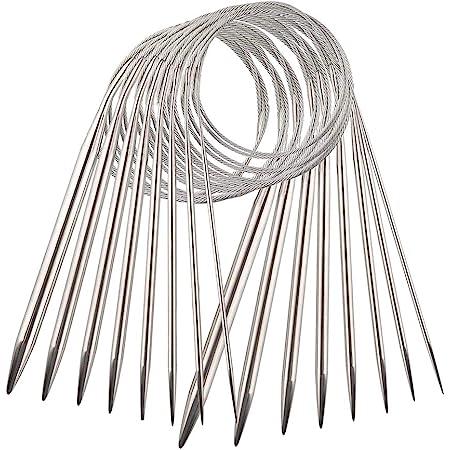 YXHZVON 8 Pièces Aiguilles à Tricoter Circulaires en Acier Inoxydable, Aiguilles à Tricoter de Chandail Aiguilles de Fil à Double Tête de 80 cm avec Fil Métallique (2/2,5/3/4/5/6/7/8 mm)