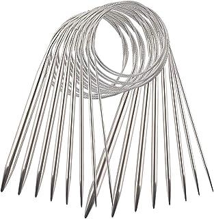 Ensemble Aiguilles à Tricoter Circulaires en Acier Inoxydable de 8 Tailles, Aiguilles à Tricoter de Chandail Aiguilles de ...