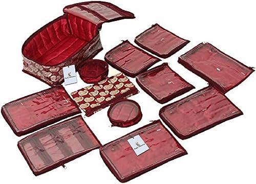 Kuber Industries Brocade Jewellery Organizer With 12 Pouches, Maroon (KUB582)