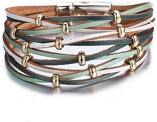 FINETOO Multi-Layer Leather Bracelet - Braided Wrap Cuff...