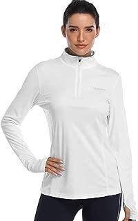 Womens UPF 50+ Sun Protection Tops Long Sleeve Half-Zip Thumb Hole Outdoor Performance Workout Shirt