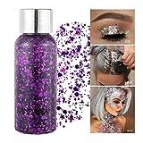 GL-Turelifes Lentejuelas de sirena con purpurina líquida, sombra de ojos, gel para el cuerpo, festival, purpurina, cosméticos, para el pelo, maquillaje de larga duración, brillo de 30 g (06# morada)