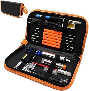L.J.JZDY Carving Pyrography Kit 220V 60W Adjustable Temperature Electric Soldering Iron Kit 5pcs Tips Portable Welding Repair Tool Tweezers (Color : Orange, Plug Type : EU)