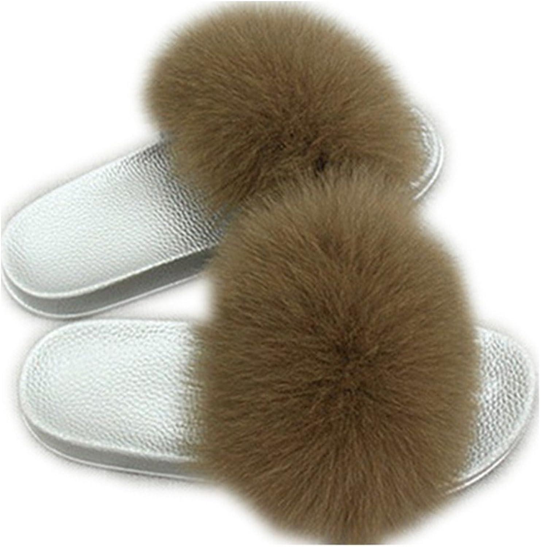 QMFUR Women Real Fox Fur Slippers Fashion Slides Flat Silver Soft Summer shoes for Girls (12, Brown)