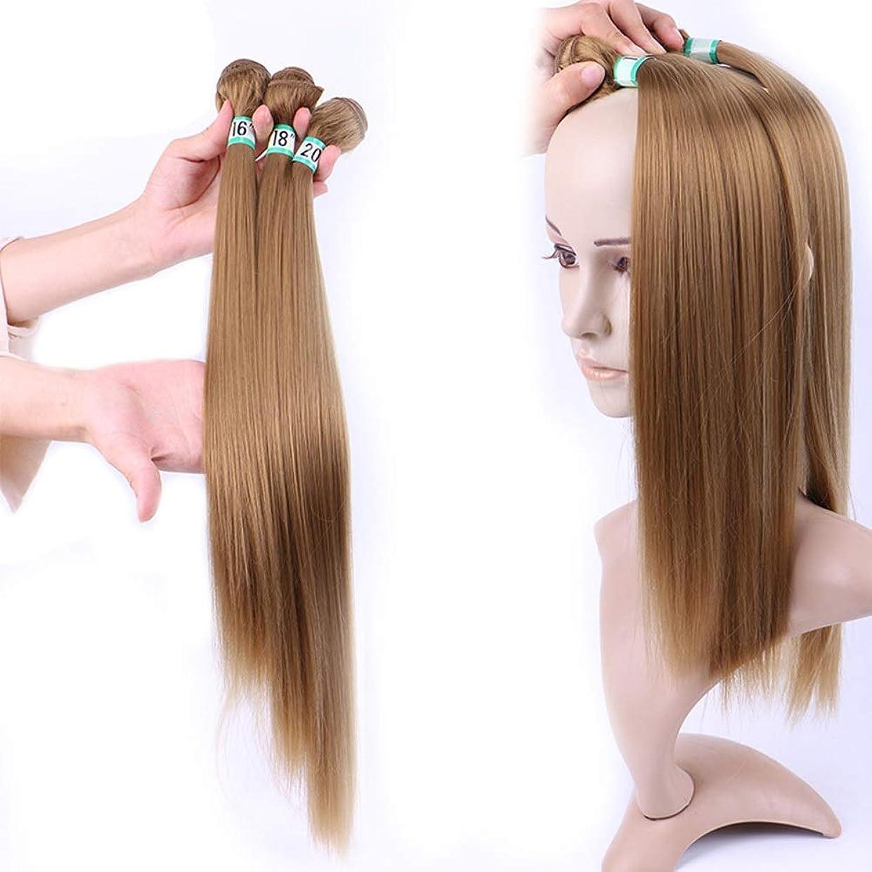 剪断ぎこちないうんHOHYLLYA 女性のシルキーストレートヘア織り3バンドルヘアエクステンション - 27#ブロンド(1バンドル/ 70g)合成髪レースかつらロールプレイングウィッグロング&ショート女性自然 (色 : Blonde, サイズ : 20