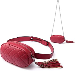 Quilted Fanny Packs for Women Fashion Waist Bag Crossbody Bags with Chain Shoulder Tassel Red